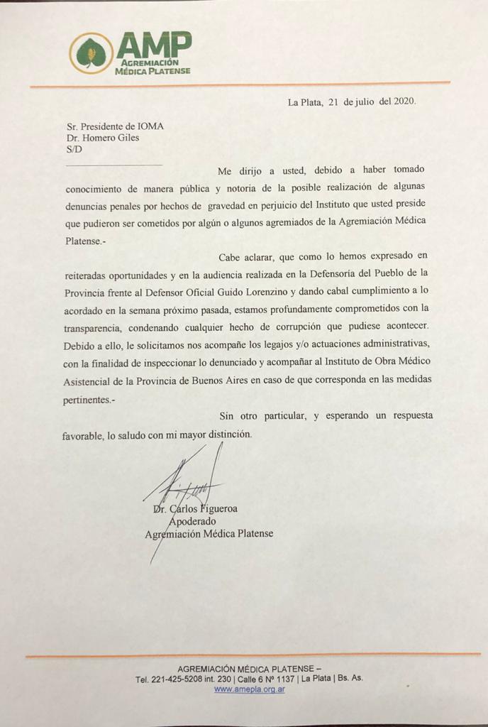 2020-07-21 - Nota IOMA Figueroa No a la corrupcion